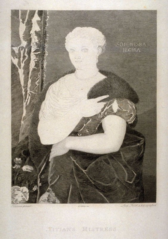 Titian's Mistress (Sofonisba Regina), fourth plate in the book, [Buchanan's Gallery], an untitled collection of engravings primarily from Select Work of Engravings (London: Historic Gallery, 1813-14)]