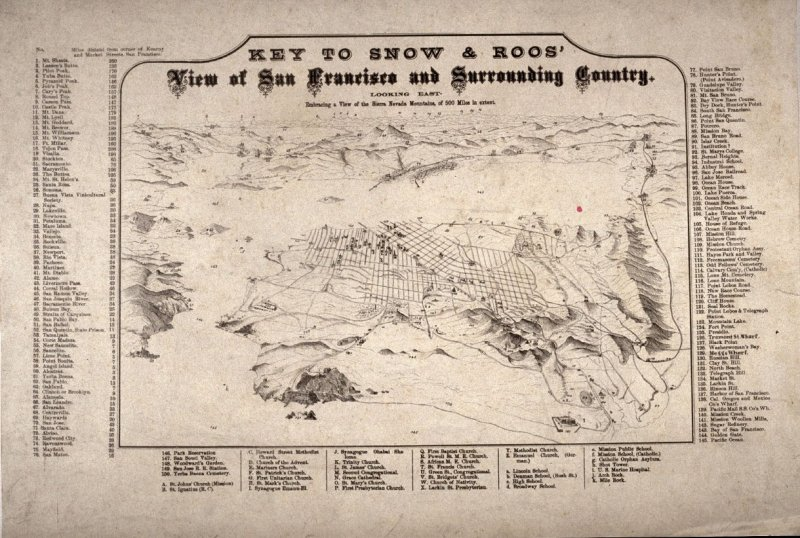 Key To Snow & Roos' View of San Francisco and Surrounding Country from cornerstone of old San Francisco City Hall