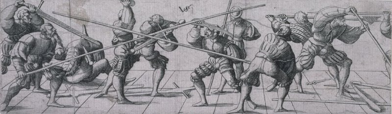 Soldiers practising with various weapons