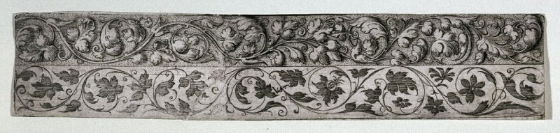 Two bands of ornamental foliage on one print; lower band with monogram