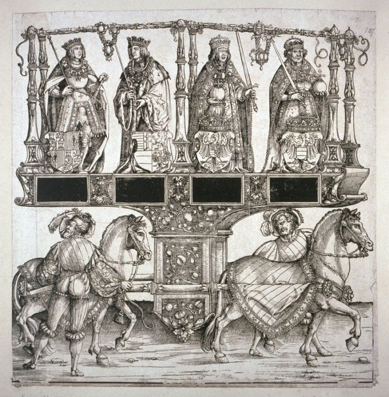 Albert I. King of the Romans, Albert II. King of the Romans and of Hungary and Bohemia, Ladislaus King of Hungary and Bohemia, Ferdinand King of Spain, Block 107 of the series Triumphal Procession of Emperor Maximilian I