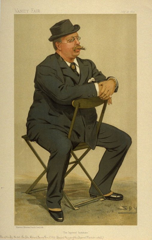 """""""The Imperial Institute"""" (Sir John Richard Somers Vine, C.M.G.) Men of the Day No. 569, from Vanity Fair, July 27, 1893"""