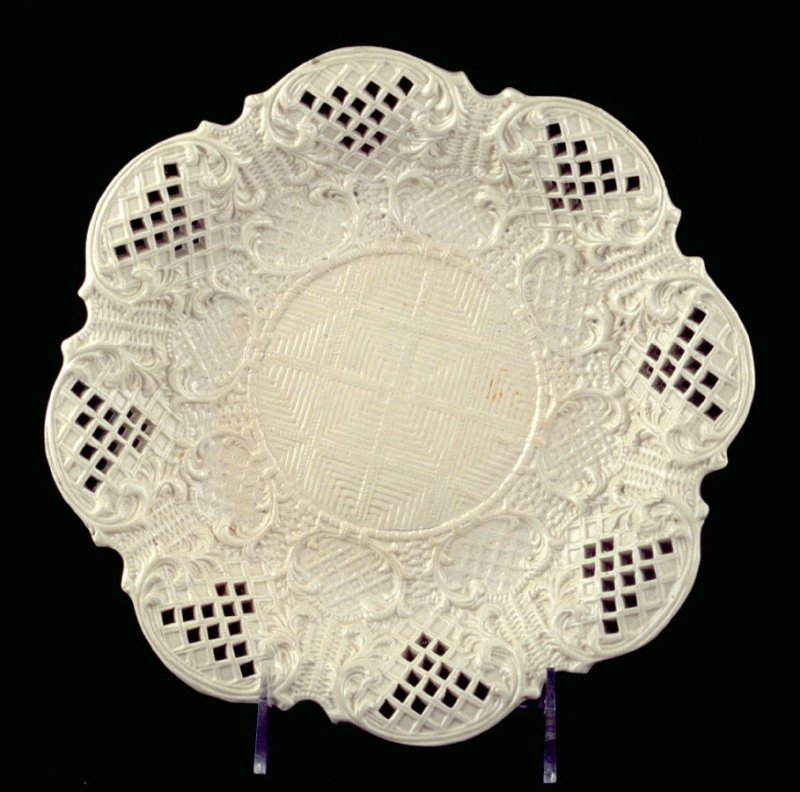 Round dish scalloped edges with holes