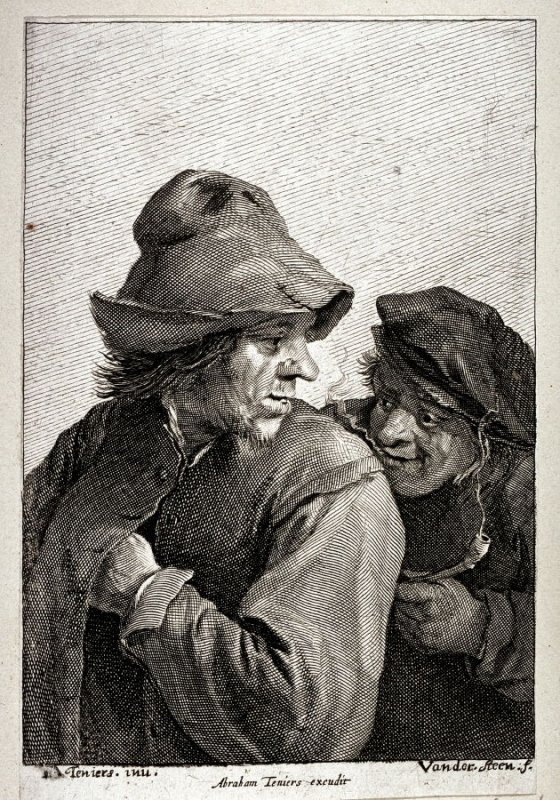 2 Men--half figures--one smoking, one with hand in pocket