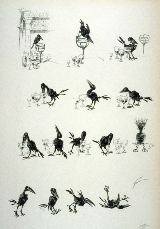 The adventures of an alcoholic crow, from Le Chat Noir