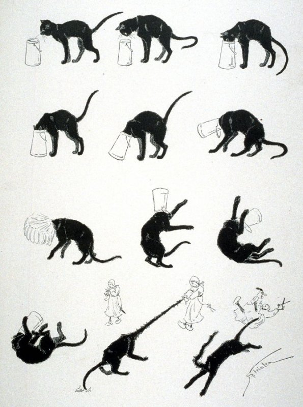 The black cat and the milk can, from Le Chat Noir