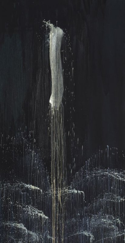 Black and White One-Stroke Waterfall