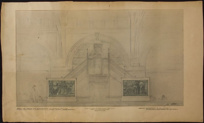 Sketches for bronze relief plaques, Ferry Building, San Francisco