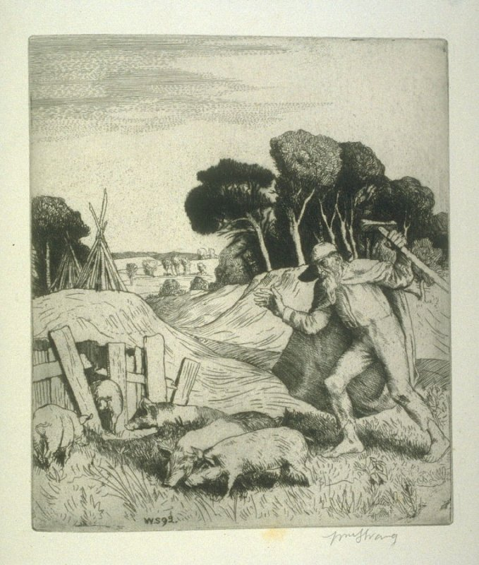 The Hallanshaker and the Pigs, plate at p. 7 in the book, Death and the Ploughman's Wife (London: Lawrence and Bullen, 1894)