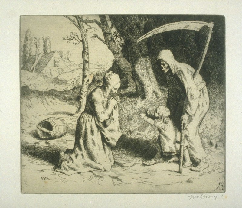 Grim Death (and the Ploughman's Wife), plate at p.13 in the book, Death and the Ploughman's Wife (London: Lawrence and Bullen, 1894)