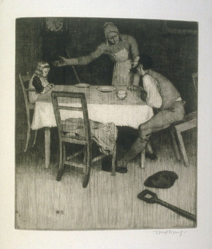 That night the Ploughman home, plate at p.17 in the book, Death and the Ploughman's Wife (London: Lawrence and Bullen, 1894)
