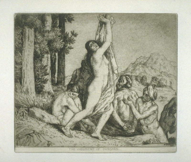 The Judgment of Dungara, plate 13 in the book, A Series of thirty Etchings … illustrating Subjects from the Writings of Rudyard Kipling (London: Macmillan, 1901)