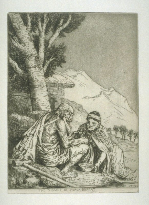The Miracle of Purun Bhagat, plate 15 in the book, A Series of thirty Etchings … illustrating Subjects from the Writings of Rudyard Kipling (London: Macmillan, 1901)