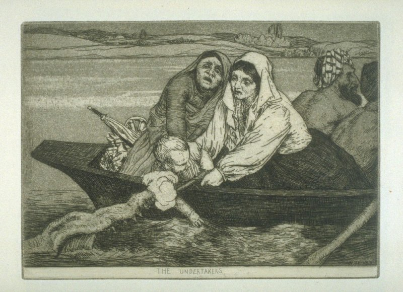 The Undertakers, plate 16 in the book, A Series of thirty Etchings … illustrating Subjects from the Writings of Rudyard Kipling (London: Macmillan, 1901)