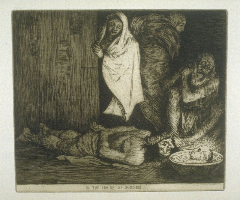 In the House of Suddhoo, plate 27 in the book, A Series of thirty Etchings … illustrating Subjects from the Writings of Rudyard Kipling (London: Macmillan, 1901)