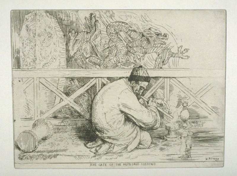 The Gate of the hundred Sorrows, plate 30 in the book, A Series of thirty Etchings … illustrating Subjects from the Writings of Rudyard Kipling (London: Macmillan, 1901)