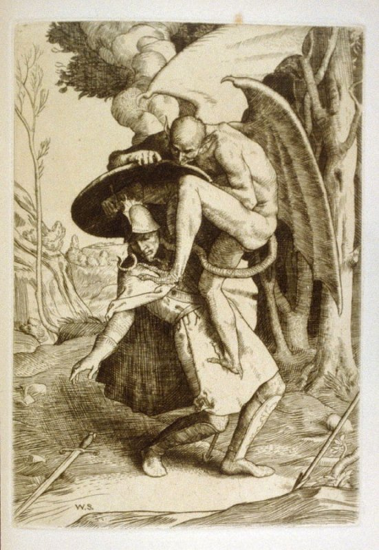 Christian Fights Apollyon, opposite page 64 and sixth plate in the book The Pilgrim's Progress by John Bunyan (London: John C. Nimmo, 1895)
