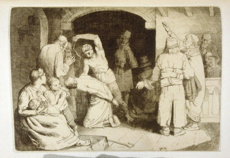 The Scourging of Faithful, opposite page 112 and eighth plate in the book The Pilgrim's Progress by John Bunyan (London: John C. Nimmo, 1895)