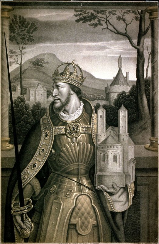 Portrait of a man in armour with crown on his head, holding ther model of a romanesque church in his left arm