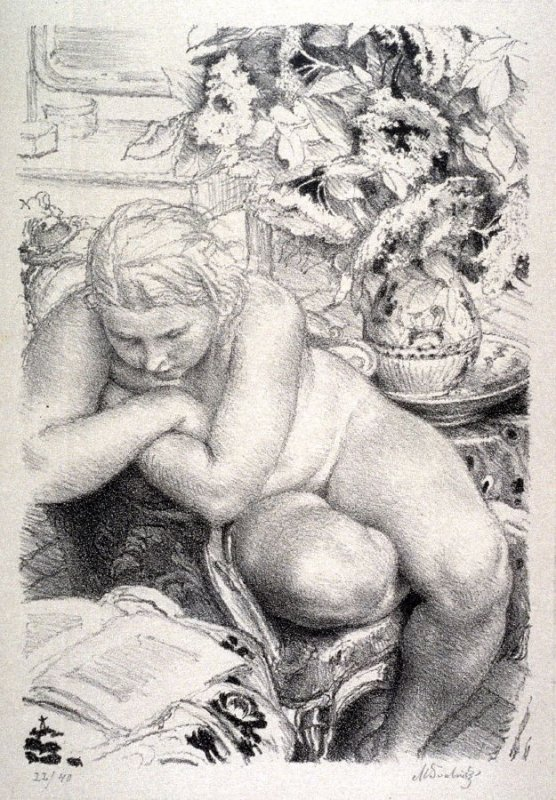 Nude model reading between poses