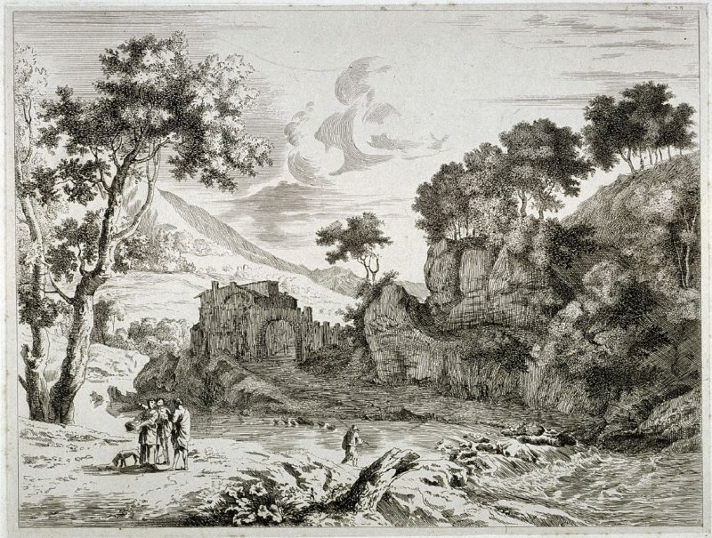 Landscape with Three People and Dog