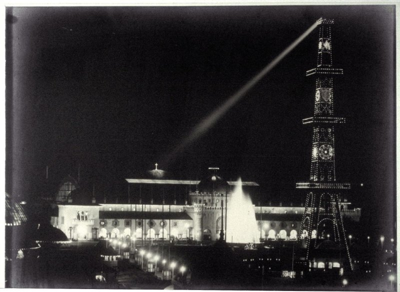 Electric Tower with Searchlight on Prayer Book Cross in Golden Gate Park at Night