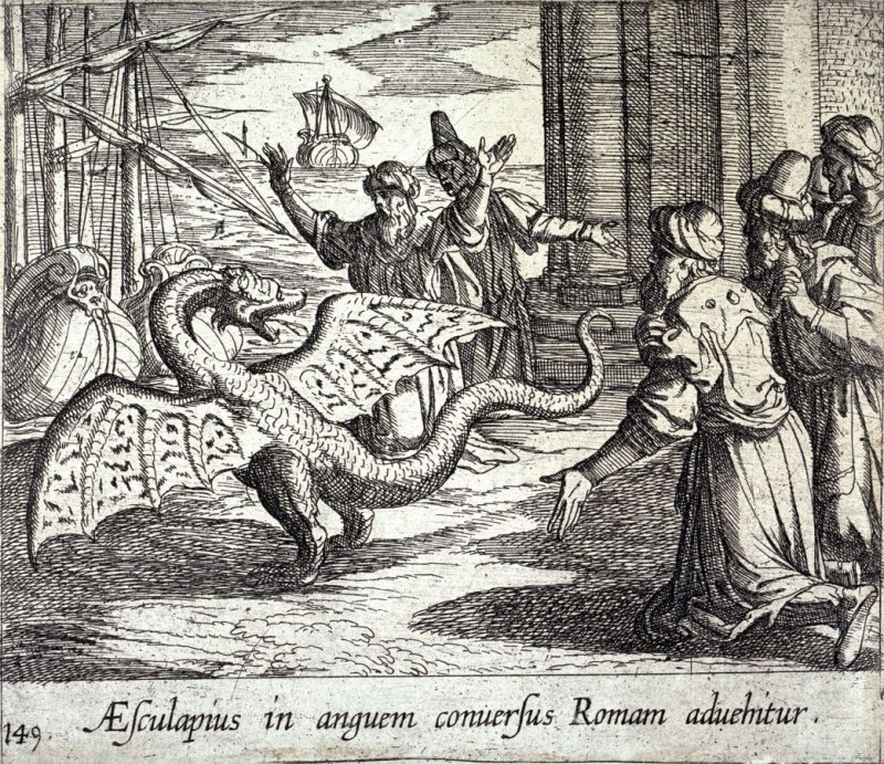 Aesculapius in anguem conversus Romam advehitur (Aesculapius as a Serpent, Among the Romans), pl.149 from the series Ovid's Metamorphoses