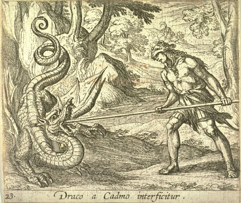 Draco a Cadmo interficitur (Cadmus Killing the Serpent), pl. 23 from the series Ovid's Metamorphoses