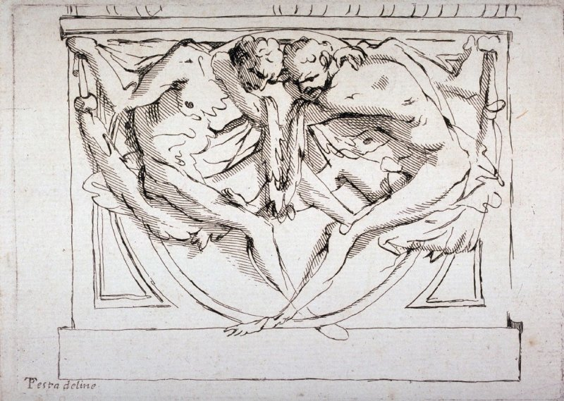 Recto:Two Male Figures Verso: Study of Drapery