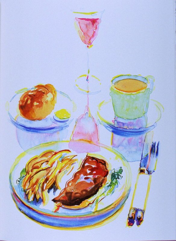 Table setting with food, plate opposite page 58 in the book The Physiology of Taste (San Francisco: The Arion Press, 1994)