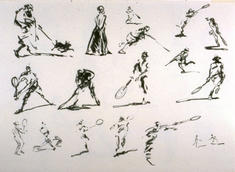 Recto: Untitled (Studies of Figures Engaged in Sports)Verso : Untitled (Studies of Single Figures and Figures by Windows)