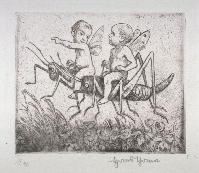 Two Cupids riding on grasshoppers