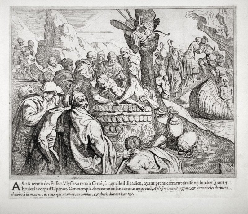 Ulysses Burning the Corpse of Elpenor, no. 25 from The Labors of Ulysses