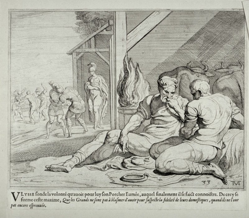 Ulysses and Telemachus in the Hut of Eumaeus, no. 33 from The Labors of Ulysses