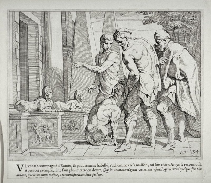 Ulysses, Disguised as a Beggar, Recognized by his Dog Argus, no. 34 from The Labors of Ulysses