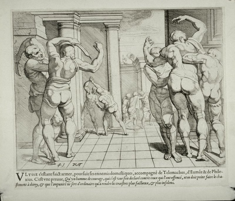 Ulysses, Assisted by Telemachus, Kills the Suitors, no. 41 from The Labors of Ulysses