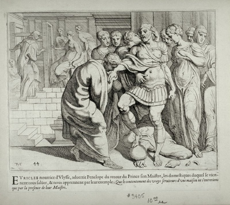 After Triumphing Over Melantheus, Ulysses is Welcomed by his Servants, no. 44 from The Labors of Ulysses