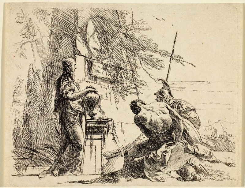 A Woman with her Hands on a Vase, a Soldier and a Slave, from the series Vari Capricci