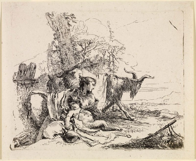 A Nymph with a Small Satyr and Two Goats, from the series Vari Capricci
