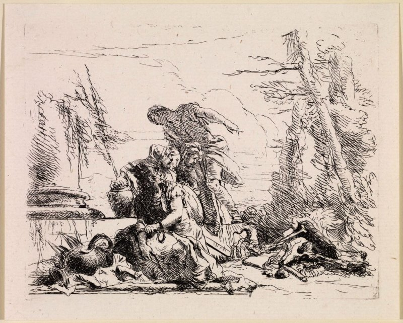 A Woman with her Arms in Chains and Four Other Figures, from the series Vari Capricci