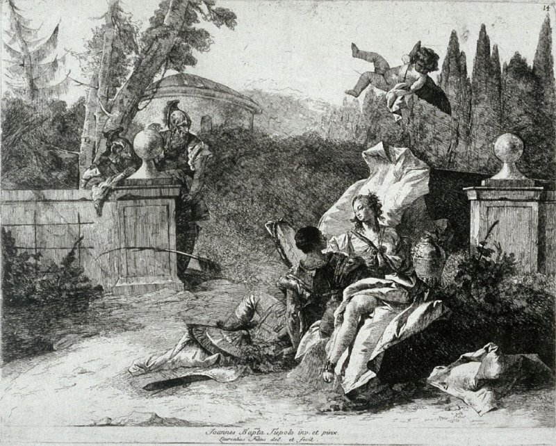 Rinaldo and Armida Watched by two Soldiers