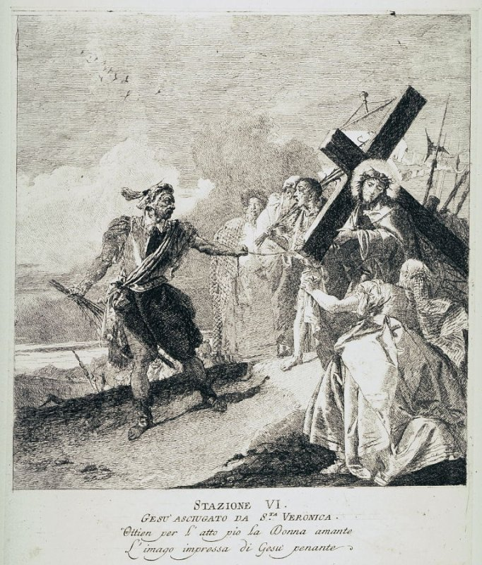 Christ's face is wiped by St. Veronica, Station 6 from the series Via Crucis (Stations of the Cross)