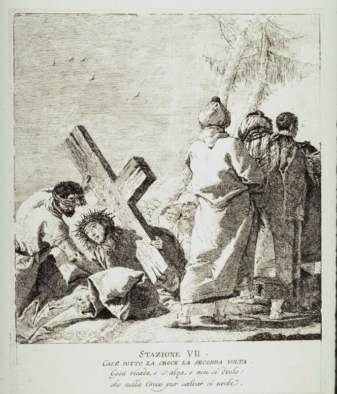 Christ falls beneath the cross for the second time, Station 7 from the series Via Crucis (Stations of the Cross)