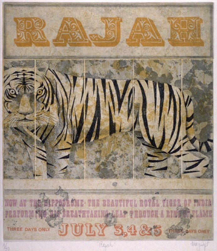 """Rajah (Poster announcing """"Now at the Hippodrome- The Beautiful Royal Tiger of India Performing his Breathtaking Leap through a ring of fire"""")"""