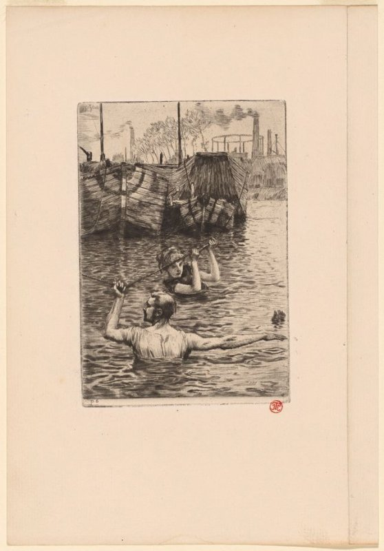 Renee and Reverchon Swimming in the Seine, from Renee de Mauperin by E. and J. De Goncourt, Paris