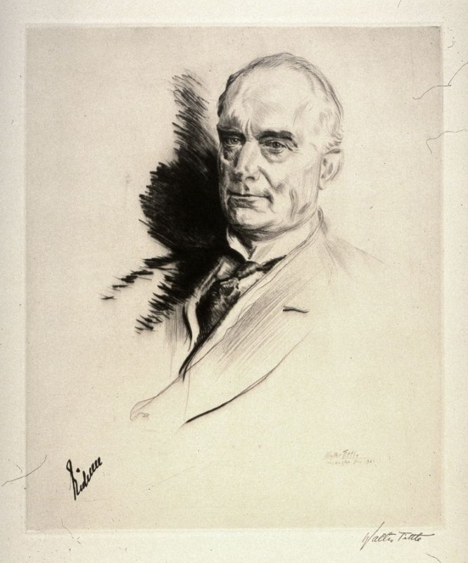 One of a set of 30 drypoint etchings of Portraits of International Dignitaries