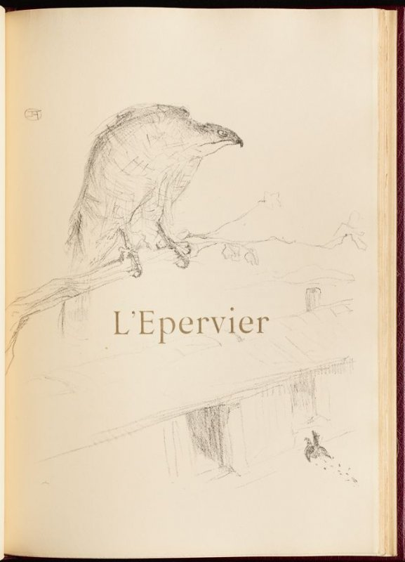 """""""L'Epervier"""" (the sparrow-hawk) in the book Histoires naturelles (Natural History) by Jules Renard (Paris: Henri Floury, 1900)."""