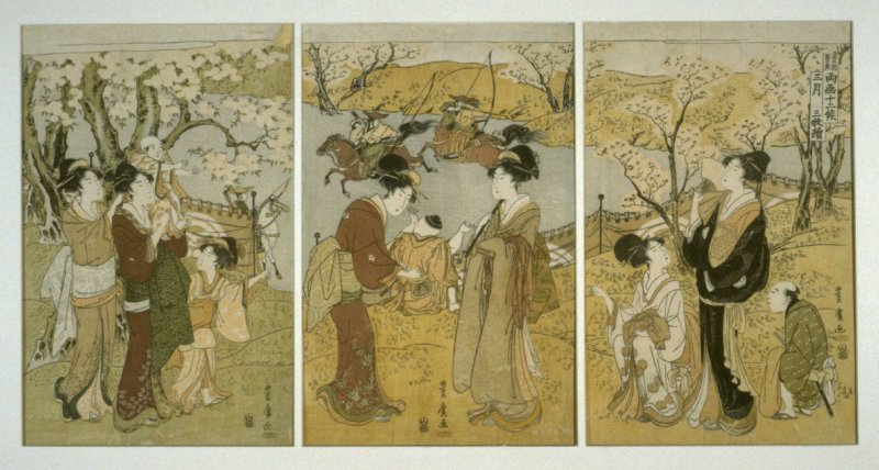 Watching Archers on Horseback in March - From a Series of Triptychs for the Months of the Year designed by Toyohiro and Toyokuni I