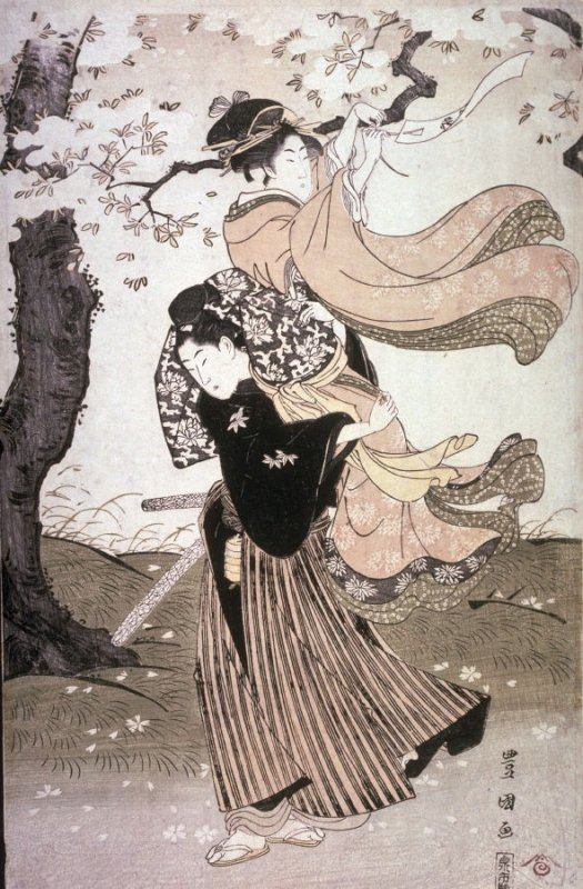 Couple Tying Poem Sllp to Cherry Tree, panel from a triptych