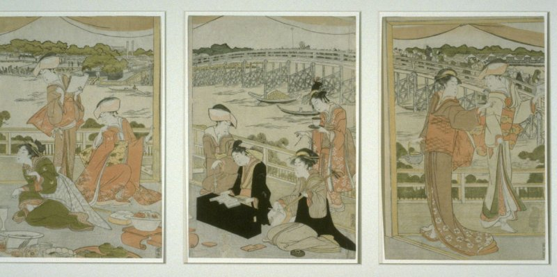 A Young Boy of the Tomimoto Clan Chanting in a Teahouse Overlooking the Sumida River
